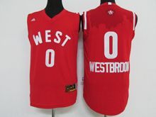 Mens Nba 2016 All Star West Oklahoma City Thunder #0 Russell Westbrook Red Jersey