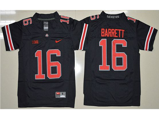 Youth Ncaa Nfl Ohio State Buckeyes #16 J.t. Barrett Black (red Number Collar Team Name) Blackout Jersey