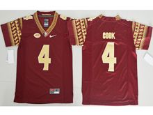 Youth Ncaa Nfl Florida State Seminoles #4 Dalvin Cook Red (gold Number) Jersey