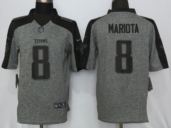 Mens   Nfl Tennessee Titans #8 Marcus Mariota Gray Gridiron Limited Jersey