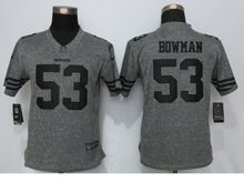 Women   San Francisco 49ers #53 Navorro Bowman Gray Gridiron Limited Jersey