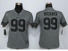 Women   San Francisco 49ers #99 Deforest Buckner Gray Gridiron Limited Jersey