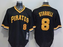 mens majestic pittsburgh pirates #8 willie stargell black orange pullover Flex Base jersey