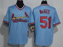 Mens Mlb St.louis Cardinals #51 Willie Mcgee Blue Pullover Throwbacks Jersey