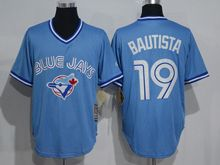 Mens Mitchell&ness Mlb Toronto Blue Jays #19 Jose Bautista Light Blue Throwbacks Jersey