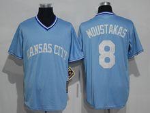 Mens Mlb Kansas City Royals #8 Mike Moustakas Light Blue Throwbacks Jersey