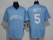 Mens Mlb Kansas City Royals #5 George Brett Light Blue Throwbacks Jersey