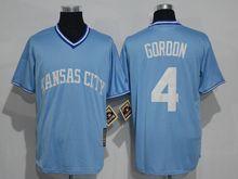Mens Mlb Kansas City Royals #4 Alex Gordon Light Blue Throwbacks Jersey
