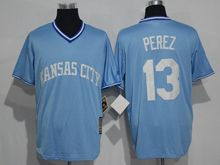 Mens Mlb Kansas City Royals #13 Salvador Perez Light Blue Throwbacks Jersey