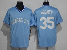 Mens Mlb Kansas City Royals #35 Eric Hosmer Light Blue Throwbacks Jersey
