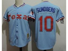 Mens Mlb Texas Rangers #10 Jim Sundberg Light Blue Throwbacks Jersey