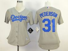Women  Mlb Los Angeles Dodgers #31 Joc Pederson Gray Jersey
