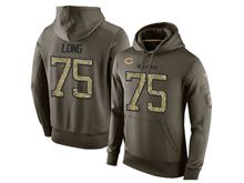 mens nfl chicago bears #75 kyle long green olive salute to service Hoodie