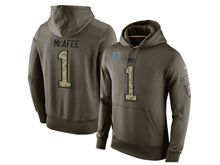 Mens Nfl Indianapolis Colts #1 Pat Mcafee Green Olive Salute To Service Hoodie