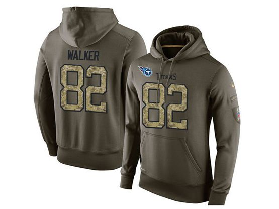 mens nfl tennessee titans #82 delanie walker green olive salute to service Hoodie