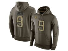 mens nfl new orleans saints #9 drew brees green olive salute to service Hoodie