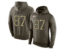 mens nfl kansas city chiefs #87 travis kelce green olive salute to service Hoodie
