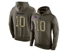 mens nfl new york giants #10 eli manning green olive salute to service Hoodie