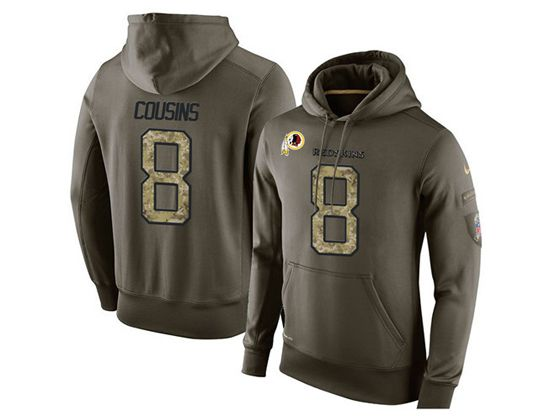 mens nfl washington redskins #8 kirk cousins green olive salute to service Hoodie