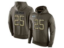 mens nfl seattle seahawks #25 richard sherman green olive salute to service Hoodie