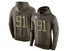 mens nfl miami dolphins #91 cameron wake green olive salute to service Hoodie