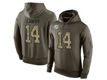 mens nfl miami dolphins #14 jarvis landry green olive salute to service Hoodie