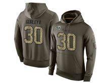 mens   los angeles rams #30 todd gurley ii green olive salute to service Hoodie