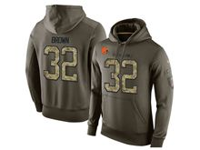 mens nfl cleveland browns #32 jim brown green olive salute to service Hoodie