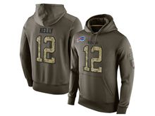 mens nfl buffalo bills #12 jim kelly green olive salute to service Hoodie