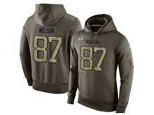 mens nfl green bay packers #87 jordy nelson green olive salute to service Hoodie