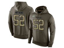 mens nfl green bay packers #52 clay matthews green olive salute to service Hoodie