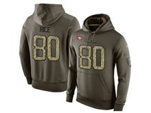 mens nfl san francisco 49ers #80 jerry rice green olive salute to service Hoodie