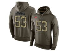 mens nfl san francisco 49ers #53 navorro bowman green olive salute to service Hoodie
