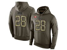 mens nfl san francisco 49ers #28 carlos hyde green olive salute to service Hoodie