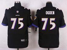 Mens Nfl   Baltimore Ravens #75 Jonathan Ogden Black Elite Jersey