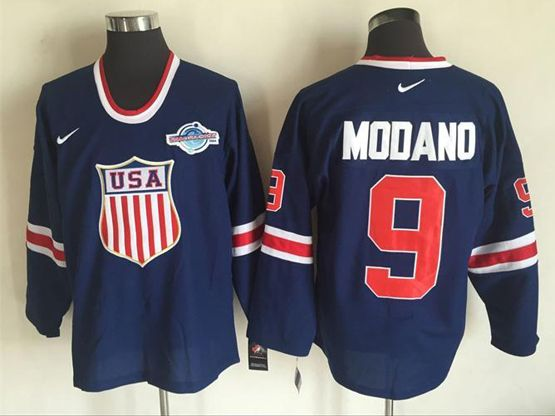Mens Nhl Team Usa #9 Mike Modano Blue (2016 Olympics) Throwback Jersey