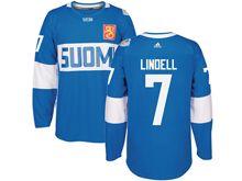 Mens Nhl Team Finland #7 Esa Lindell Blue 2016 World Cup Hockey Jersey