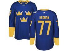 Mens Nhl Team Sweden #77 Victor Hedman Blue 2016 World Cup Hockey Jersey