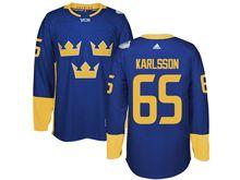 Mens Nhl Team Sweden #65 Erik Karlsson Blue 2016 World Cup Hockey Jersey