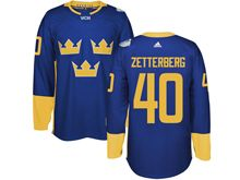 Mens Nhl Team Sweden #40 Henrik Zetterberg Blue 2016 World Cup Hockey Jersey