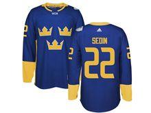 Mens Nhl Team Sweden #22 Daniel Sedin Blue 2016 World Cup Hockey Jersey