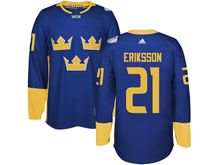Mens Nhl Team Sweden #21 Loui Eriksson Blue 2016 World Cup Hockey Jersey