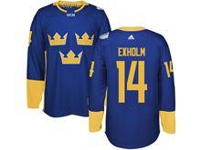 Mens Nhl Team Sweden #14 Mattias Ekholm Blue 2016 World Cup Hockey Jersey