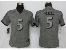 Women   Baltimore Ravens #5 Joe Flacco Gray Stitched Gridiron Limited Jersey