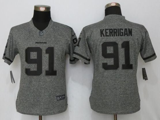 Women   Washington Redskins #91 Ryan Kerrigan Gray Stitched Gridiron Limited Jersey