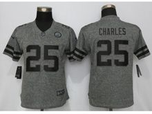 Women N  Kansas City Chiefs #25 Jamaal Charles Gray Stitched Gridiron Limited Jersey