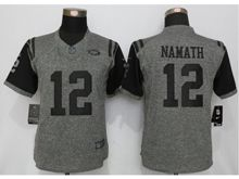 Women   New York Jets #12 Joe Namath Gray Stitched Gridiron Limited Jersey