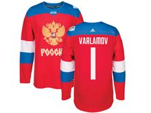 Mens Nhl Team Russia #1 Semyon Varlamov Red 2016 World Cup Hockey Jersey
