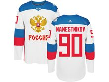 Mens Nhl Team Russia #90 Vladislav Namestnikov White 2016 World Cup Hockey Jersey