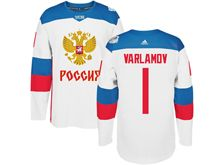 Mens Nhl Team Russia #1 Semyon Varlamov White 2016 World Cup Hockey Jersey